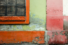 Right Angles (Chris Huddleston) Tags: window oily street windowsill crumbling dirty green wall old orange red