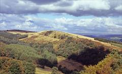 moorland autumn (Ron Layters) Tags: foxlowedge goytvalley moorland autumn clouds autumncolours ridge trees forest landscape valley fernilee errwood highpeak peakdistrict england derbyshire unitedkingdom slidefilmthenscanned slide transparency fujichrome velvia leica r62 leicar62 ronlayters
