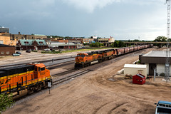 Roughrider 001 (Cycle the Ghost Round) Tags: northdakota minot railroad train tracks bnsf engine locomotive west plains prarie burlingtonnorthernsantafe green orange city urban town
