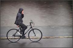 Smoking Biker (rogermccallum) Tags: smoker smoking nohands cycle cycling schoolboy rain raining wet