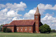 Abandoned church, Bomarton, Texas (Small Creatures) Tags: bomarton texas abandoned church baylorcounty nikond40 d40 rural rt277 derelict rundown neglected czechoslovakian steeple tinroof