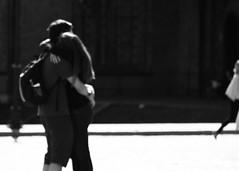 I love you, let her go .... (mkorolkov) Tags: street streetphotography romance romantic love hug couple candid blur blurry blackandwhite monochrome fujifilm xe1 xc50230