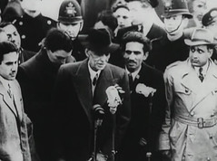 Jinnah talking to the press in London (Doc Kazi) Tags: pakistan india independence negotiations ceremonies jinnah gandhi nehru mountbatten viceroy wavell stafford cripps edwina fatima muhammad ali