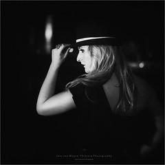 Film Noir X (Passie13(Ines van Megen-Thijssen)) Tags: filmnoir filmnoirmood film noir mood weert limburg netherlands portrait portret woman vrouw hat hoed hut blackandwhite fineart bw sw zw zwartwit monochroom monochrome monochrom night evening canon sigma35mmart inesvanmegen inesvanmegenthijssen