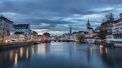 Zurich at blue hour (pixadeleon) Tags: zürich limmat blauestunde altstadt blau wolken langzeitbelichtung zurich bluehour oldtown blue clouds longexposure canon 5d mark iv challengegamewinner