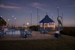 A Restaurant Overlooking the Lake (SteveFrazierPhotography.com) Tags: theblueheron restaurant dining food artwork art statue metal lakeoftheozarks water sky nest lakeozark camdencounty missouri mo ozarks stevefrazierphotography