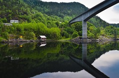 Even if you are far... [Explore] (FufBea) Tags: norway norvegia fjord fiordo sea reflection mirror riflesso bridge ponte