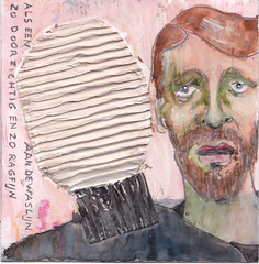 # 329 (24-11-2016) (h e r m a n) Tags: herman illustratie tekening bock oosterhout zwembad 10x10cm 3651tekenevent tegeltje drawing illustration karton carton cardboard portrait portret gedicht poem beeldbad