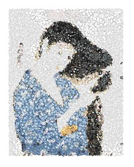 Combing Hair Mosaic (sjrankin) Tags: art girl japan illustration print japanese mosaic edited japaneseart processed comb ukiyoe filtered goyo girlwithcomb 18august2015