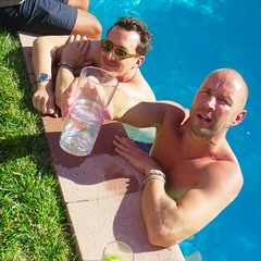 IMG_0279 (danimaniacs) Tags: shirtless man hot guy bald hunk swimmingpool stud scruff