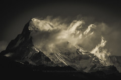 Awakening (Pawel A K) Tags: morning blackandwhite mountains monochrome clouds landscape outdoor abc 2008 annapurna himalayas poonhill theworldthroughourlenses
