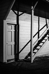 Staircase (O.S. Fisher) Tags: door light shadow blackandwhite art film stairs canon photography utah photo stair noir grain highcontrast style monotone photograph 5d noise posts stylized detective markiii shaunfisher canon5dmarkiii osfisher olivershaunfisher