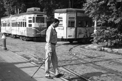 A day in the life of a track changer. (pathikdebmallik) Tags: blackandwhite heritage lines track tracks tram kolkata tramway bengal calcutta tramline westbengal