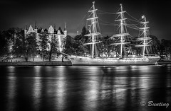 Skeppsholmen and 3-Masted Sailing Ship, af Chapman (stevebfotos) Tags: longexposure night sweden stockholm hdr stockholmslän