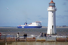 Arrival Belfast ferry on the River Mersey (18mm & Other Stuff) Tags: ferry ship sony rivermersey perchrocklighthouse a6000