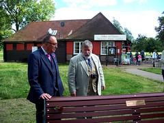 David Stuart Davies & Roger Johnson at Jeremy's bench (photo by Jean Upton)