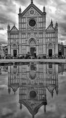 Heaven and Earth (Mark.L.Sutherland) Tags: cameraphone 2 two sky people blackandwhite bw italy reflection church water monochrome clouds puddle mono florence italia religion streetphotography samsung double smartphone tuscany firenze sutherland tuscana heavenandearth phoneography basilicaofsantacroce androidography galaxys5