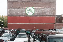 Yes yes (Raphs) Tags: urban usa green cars bike bicycle sign wall oregon painting portland parkinglot traffic parking bricks irony bikesign raphs paintover tamronspaf1750mmf28xrdiiildaspherical bikesvscars canoneos70d americasbicyclecapital