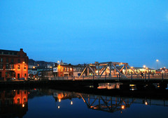 bridge of light, Cork (Aiils) Tags: trip travel bridge ireland night canon lights cork fiume ponte luci viaggio notte luce irlanda riflesso