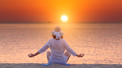Peace (Radisa Zivkovic) Tags: ocean sea summer woman sun white beach nature water girl hat silhouette yoga female sunrise person dawn healthy sand peace adult body lifestyle health mind leisure meditation relaxation fitness