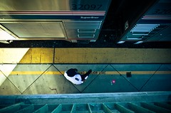 Superliner (Emeryville, California) (La Chachalaca Fotografa) Tags: light station vertical metal train geometry angles amtrak gr porter ricoh compressed verticality yellowline