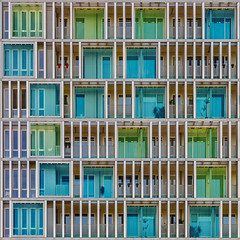 Shades of Happiness (Paul Brouns) Tags: blue windows west color green window colors amsterdam architecture facade square design bright turquoise balcony shades structure minimal repetition balconies minimalism playful minimalistic minimalist rhythm lightness architectuur appartments minimalisme