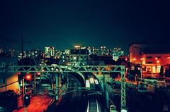 Railway  station (yasu19_67) Tags: film station japan 50mm cityscape railway osaka nightview umeda hankyu photooftheday filmphotography minolta7 filmism europrint200 ebcfujinon50mmf14