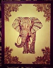 elefante (vivianmiliziano) Tags: africa wood elephant idea drawing african dibujo regalo disegno elefante legno pioppo fireart hechoamano pirogravura pirografia fattoamano pirography zentangle