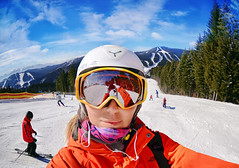 Portrait of woman in Carpathian mountains, Bukovel (marozn) Tags: ski face snow skier bukovel sport glasses girl woman skiwear person ukraine human cold goggles fun activity white travel adult holiday active mountains mountain people one smiling portrait season family young winter extreme resort cheerful jacket helmet trees tree lift snowboarder snowboard forest mask reflection selfie phone camera photograph