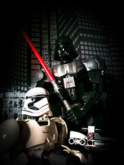 Darth LET ME leGO (theGR0WLER) Tags: lego starwars darth vader storm trooper character figure toy film movie black white red silver light saber dark darkside head mobile phonephotography huawei p9