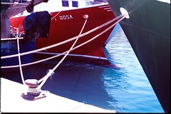 Moorage (davidgarciadorado) Tags: amarre harbour boats ships fishingboats diapositive slide 35mm fujiprovia100 spain