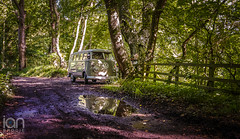 Camper Van Reflections (ianbrodie1) Tags: camper vw volkswagen van old nostalgic wood woods trees green dirt track fence summer refelct reflections puddle water