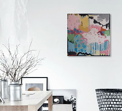 #1398 (sariart2) Tags: original ooak acrylic collage painting modern abstract contemporary art square small 10x10 mini pink blue white sari noy azaria