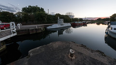 The Beverley Sub_1030023 (HJSP82) Tags: 20161008riverbeck beverley sundown sunset calm reflecions submarine lockgates bollard moorings fisheye samyang