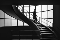 The Descent (BW Photography by CS) Tags: staircase stairs human geometry descent