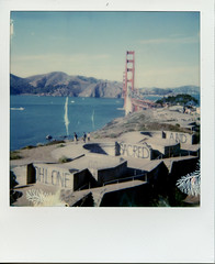 Ohlone Sacred Land | Polaroid Week 2016 6 (m_travels) Tags: goldengatebridge ohlone sacred land landscape bayarea polaroid600 impossibleproject roidweek polaroidweek2016 film coast pacificocean waves light leaks imperfections lightleaks instant analoguephotography analog california beach batterychamberlin militarybase graffiti