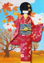 ATC1323 - Colorful autumn (tengds) Tags: japanesepaperdoll origamidoll kimonodoll asiandoll ningyo geisha japanese asian kimono red flowers white obi blue japanesepaper origamipaper chiyogami nailartsticker nailsticker sky landscape gold cloud trees brown handmadecard card atc artcard tradingcard papercraft tengds