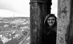 Pumpkinseed above the city (gyorgysz) Tags: praha pentax push prague prga pentaxart iso1600 ilford hp5 push2 fomadon 3170 epson excel 35mm top tourist blackandwhite monochrome texture text klara portrait