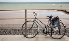 Beach-bike.jpg (+Pattycake+) Tags: dawes beach windfarm paniers railings red civic bicycle bell sea