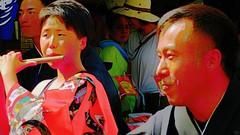 Faces (Bamboo Barnes - Artist.Com) Tags: japan festival ritual vivd light shadow photo digitalart red blue yellow green oriental asia bamboobarnes pink musicinstrument tradition