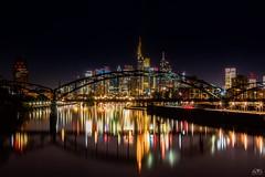 The true colours of Frankfurt Skyline (stein.anthony) Tags: cityscape cityhighlight deutschland germany frankfurt skyline nachtaufnahme langzeitbelichtung longexposure nightview architektur architecture osthafenbrcke stadt 1001nights