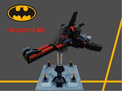 Vespertilio - The BatViper (Harding Co.) Tags: lego space scifi spaceship flying wings cockpit batman black red grey engines vehicle viper vv nnovvember minifigure minifigscale base stand