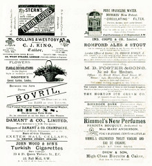 British advertisements: (painting in light) Tags: london 1890 ad advert advertisement sell selling england victoria bovril romfordalesstout rimmel perfume johnwoodturkishcigarettes alcohol stout ale beer booze cigarette tobacco nicotine drug beef cow bull farm drink