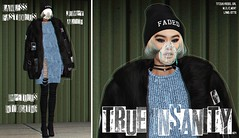 true insanity   #24 (algorifm) Tags: algorifm sl secondlife blog slblog fashion fashionlookinsl fashionlook secondlifefashion fur coat black knit blue faded insanity fem lookbook
