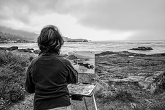 Painting in Monterey (dougsooley) Tags: painting seashore seaside seascape sea ocean oceanview monterey montereycalifornia california cali blackwhite blackandwhite bw dougsooley canon canon1dx canonlenses canonlens monochrome monomonday mono
