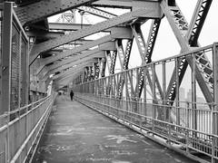 Keep On Walking (Lojones13) Tags: urban outside walking nikond5300 newyork williamsburgbridge walkway blackandwhite