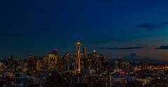 Seattle Nights Clear (marcusbird13) Tags: lights spaceneedle washington evening dusk city cotyscape landscape mtrainier night seattle