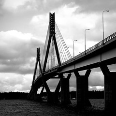 Connecting islands - connecting people (PeterCH51) Tags: finland vaasa bjrkby bridge connecting people blackandwhite bw monochrome square squareformat peterch51 korsholm mustasaari replotbridge replot