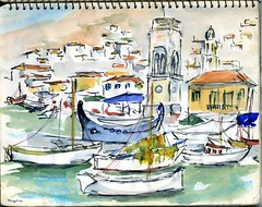 A Village in Greece (Cambridge Room at the Cambridge Public Library) Tags: landscapes watercolor watercolorspaintings arnolddorothy dorothyarnold cambridgemass cambridge cambridgemassachusetts artistjournals