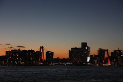 Sunset and skyline (eLeM-O) Tags: rotterdam skyline sunset 2016 december lookingsouth bridges nighttime willemsbrug water waterfront river riverbank maas